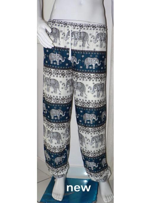 pantalon léger mixte imprimé éléphants couleur vert foncé