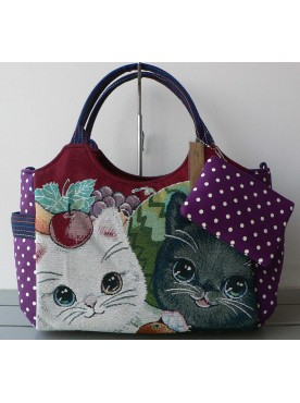 grand sac cabas femme imprimé les chats