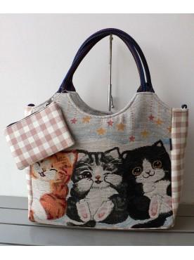 grand sac cabas vichy femme imprimé les 3 chats