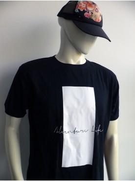 t-shirt officiel store homme noir bande balche imprimé peinture
