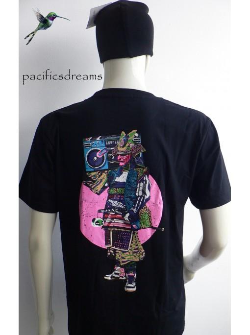 t-shirt noir officiel store homme imprimé le samourai