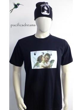 t-shirt noir officiel store homme imprimé l'ange